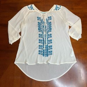Maurices Womens Small White Sheet Boho Blouse